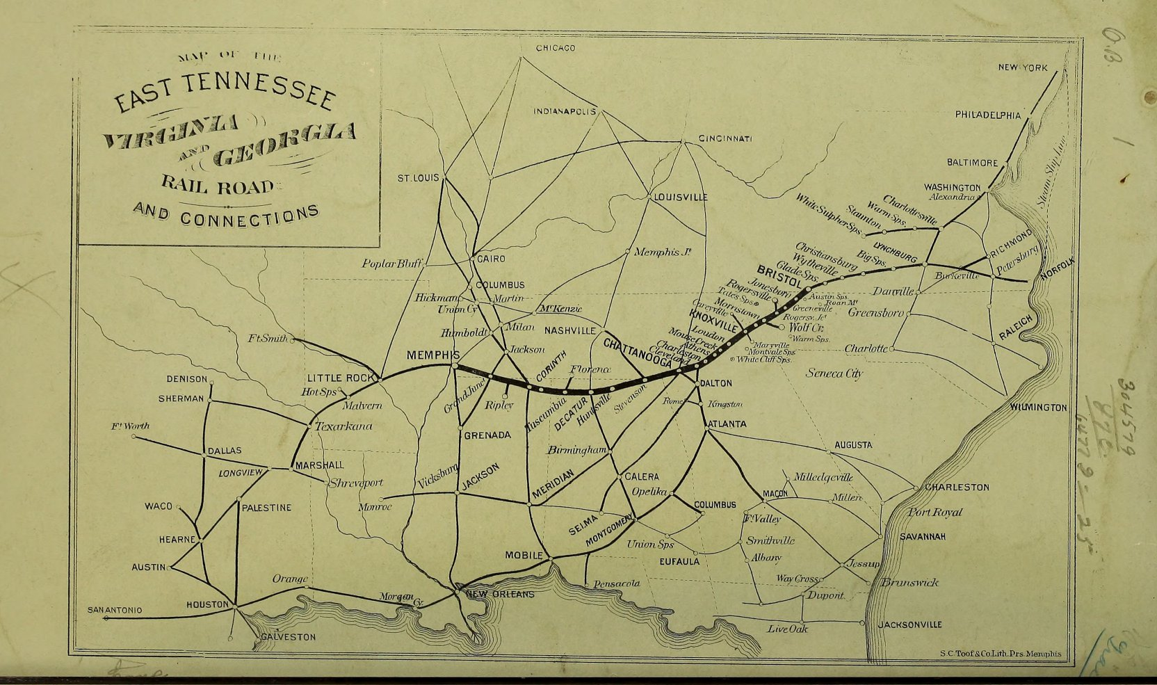 Map Of The East Tennessee, Virginia And Georgia Railroad And Connections  From East Tennessee, Virginia And Georgia Railroadpany