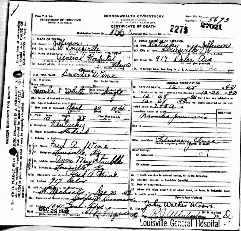 Kentucky Divorce Records: So Many Ancestors!: Wednesday's Child: Laverne Marie Win'e
