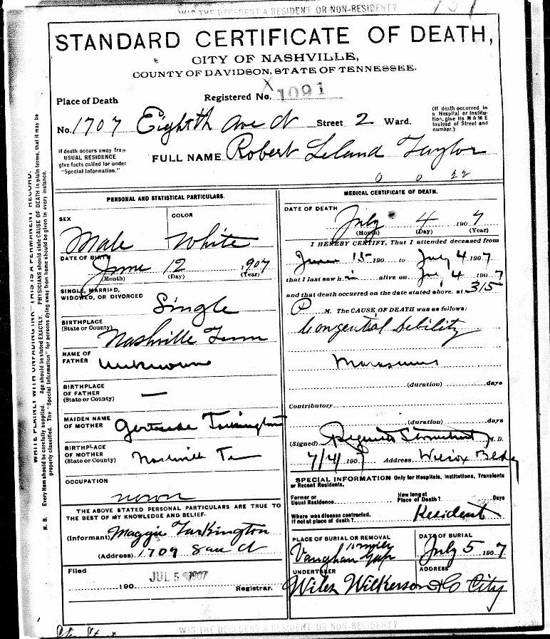 So Many Ancestors Wednesdays Child Robert Leland Taylor